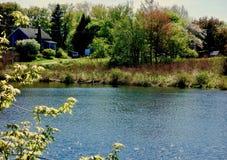 缅因河岸在一明亮的天在5月,平静的平静安静 库存照片