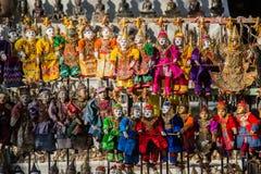 缅甸传统工艺品木偶玩偶在地方传统市场,曼德勒,缅甸上 图库摄影