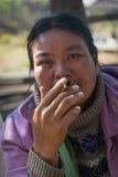 缅甸妇女烟方头雪茄烟雪茄 库存照片
