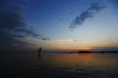 缅甸彼得鲁宾这桥梁日落 库存图片