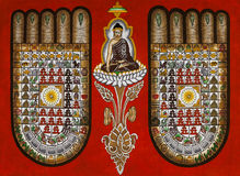 佛教象征主义-缅甸沙画 库存照片