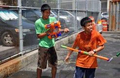 缅甸的节日开玩笑nyc水 图库摄影