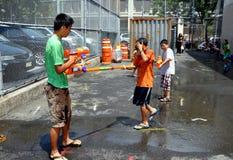 缅甸的节日开玩笑nyc水 免版税库存图片