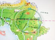 缅甸(缅甸)国家地图 库存照片