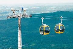 缆索铁路下降对山的脚在波兰山,缆索铁路的在山的天空蔚蓝对面, 库存图片