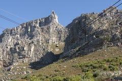 缆索铁路在南非开普敦有制表山的看法 免版税图库摄影
