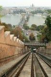 缆索铁路布达佩斯的表单 免版税图库摄影