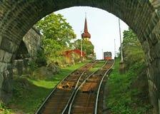 缆索铁路的老斯德哥尔摩 库存图片