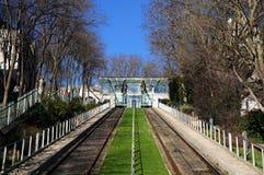 缆索铁路的montmartre巴黎 免版税库存图片