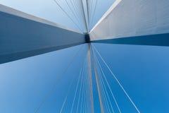 缆绳被停留的桥梁特写镜头 免版税库存照片