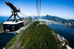 缆车向老虎山在里约热内卢,巴西。 免版税库存照片