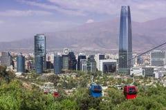 缆车在圣地亚哥de智利 库存图片