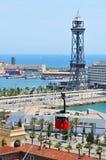 缆车在巴塞罗那 免版税库存照片