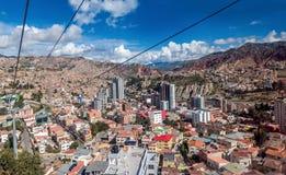 缆车在拉巴斯,玻利维亚 库存图片
