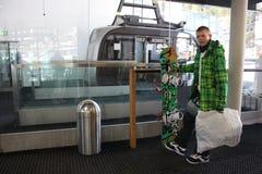 缆车在滨湖采尔,滑雪胜地在北部提洛尔,奥地利 免版税图库摄影