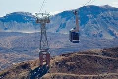 缆车登高的Teide。 特内里费岛,西班牙。 免版税图库摄影