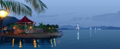 从缆车的风景在海 库存图片