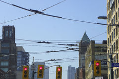 缆车线在街市多伦多 免版税库存照片