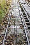 缆车轨道在Bridgnorth,萨罗普郡 库存图片