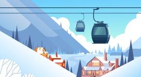 缆车运输在冬天山小山村庄背景的绳索方式 皇族释放例证