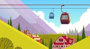 缆车运输在山小山村庄背景的绳索方式 库存例证