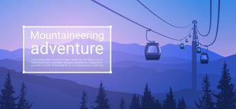 缆车运输在山小山自然背景横幅的绳索方式与拷贝空间 向量例证