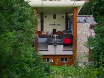 缆车驻地在锡纳亚,罗马尼亚 免版税库存照片