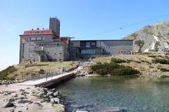 缆车驻地, Skalnate pleso湖,高Tatras 库存图片