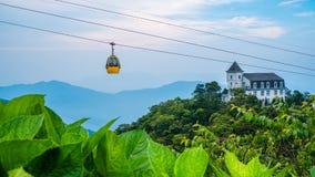 缆车, Ba Na小山,岘港市,越南 免版税库存照片