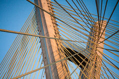 缆绳停留了桥梁结构 库存照片