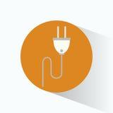 缆绳插座能量电标志 库存图片