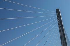 缆绳的片段停留了桥梁 库存图片