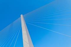 缆绳的片段停留了桥梁 图库摄影