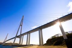 缆绳被停留的桥梁到俄国海岛。符拉迪沃斯托克。俄罗斯。 免版税库存图片