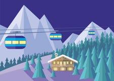 缆索铁路和瑞士山中的牧人小屋 皇族释放例证