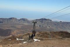 缆索铁路在登上泰德峰上面  免版税库存照片