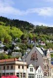 缆索铁路的山,卑尔根历史大厦,挪威 库存图片