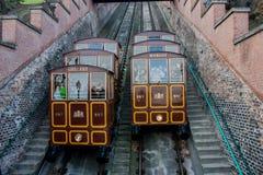 缆索铁路的电车火车,布达佩斯,匈牙利 库存图片