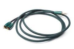 缆绳3 5mm对2RCA男性的立体音响男性 库存图片