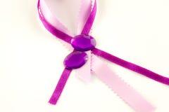 缎丝带和优美的宝石 免版税图库摄影