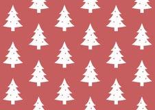 缎带包装在红色背景样式的圣诞树 免版税图库摄影
