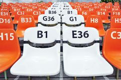 编号位子体育运动体育场 库存照片