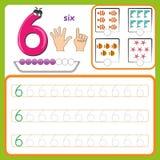 编号卡片,计数和写数字,学会数字,追踪活页练习题的数字为幼儿园 库存例证