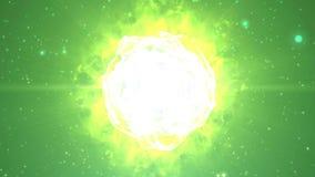 从5编号读秒动画到0与用于介绍钛的闪电和霹雳炸开的冲击波作用微粒 皇族释放例证