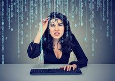 戴编码在计算机的眼镜的迷茫的女孩 免版税库存照片