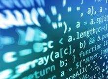 编码编程的原始代码屏幕 五颜六色的抽象数据显示 软件开发商网节目剧本 免版税库存图片