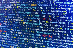 编码编程的原始代码屏幕 五颜六色的抽象数据显示 软件开发商网节目剧本 免版税库存照片