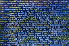 编码编程的原始代码屏幕 免版税图库摄影