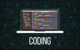 编码膝上型计算机概念在二进制背景 编程的桌面和矩阵背景 与节目代码的显示器 流动 库存例证