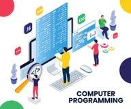 编程在膝上型计算机的人们做网站等量艺术品概念 库存例证